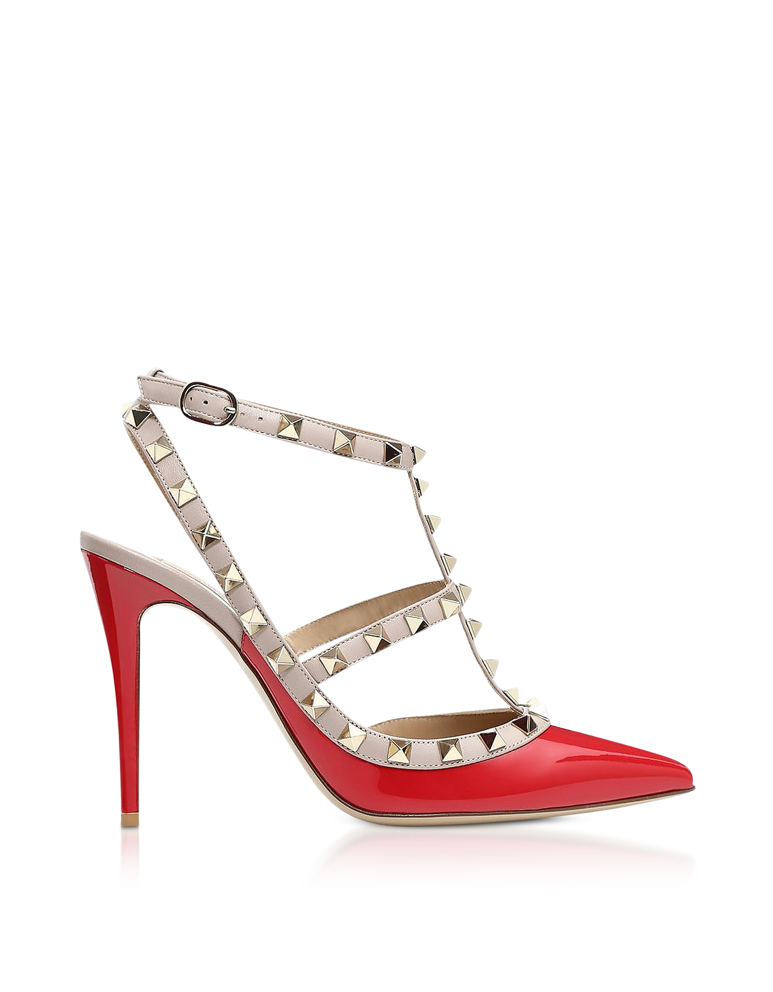 Rockstud Red Patent Leather Ankle Stap Pumps