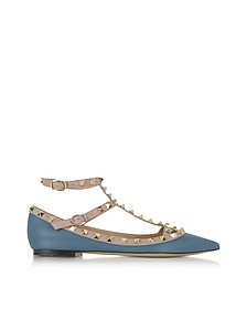 Rockstud Avion Blue & Powder Leather Ballerina - Valentino