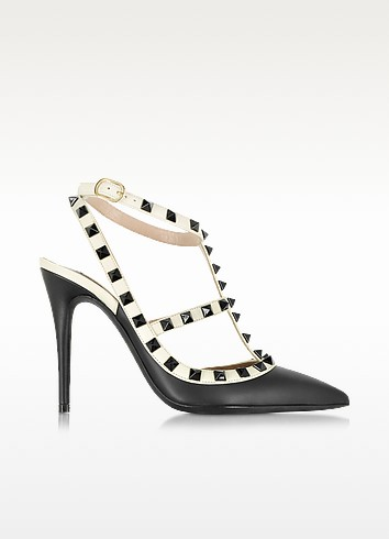 Rockstud Black & Light Ivory Leather Ankle Strap Pump - Valentino