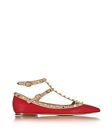 Rockstud Red and Powder Pink Leather Ballerina - Valentino
