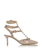 Valentino Garavani Rockstud Poudre Patent Leather Mid Heel Ankle Strap Pump vo430416-019-01