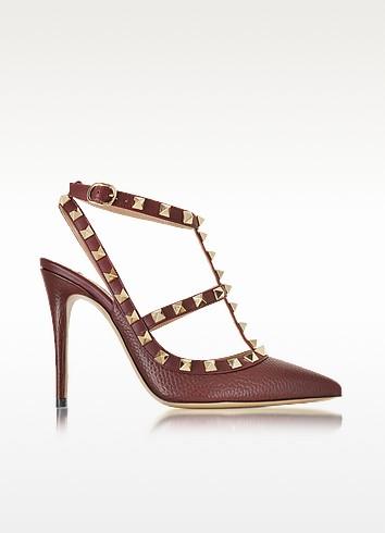 Rockstud Rubin Deer Leather Ankle Strap Sandal - Valentino