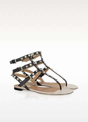 Rockstud - Calfskin and Nappa Leather Sandal - Valentino