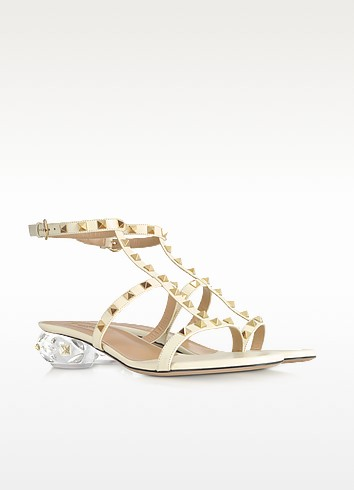 Rockstud Light Ivory Leather Sandals - Valentino