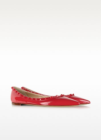 Rockstud Rouge Patent Leather Ballerina - Valentino