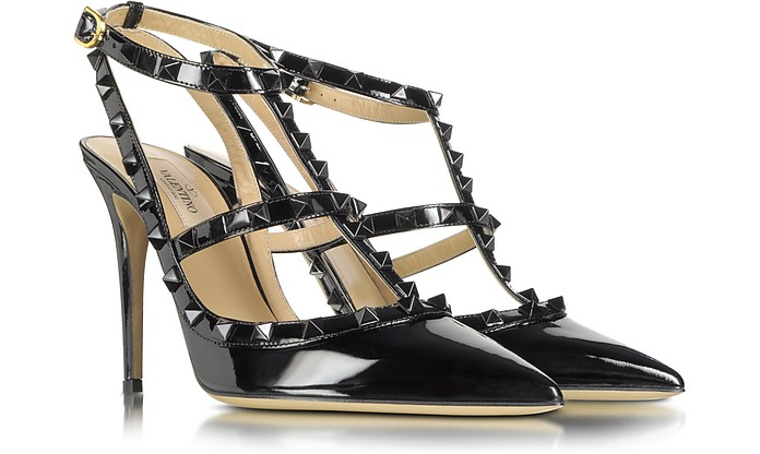 Rockstud Black Patent Leather Slingback Pump - Valentino