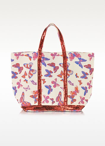 Les Cabas Butterfly Printed Canvas and Sequin Medium Tote  - Vanessa Bruno
