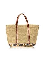 Vanessa Bruno Medium Raffia Cabas Tote Bag w/Maya Embroidered Band vr130217-005-00