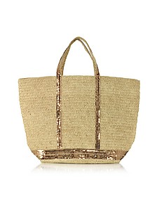 Large Natural Raffia and Sequins Cabas Tote Bag  - Vanessa Bruno