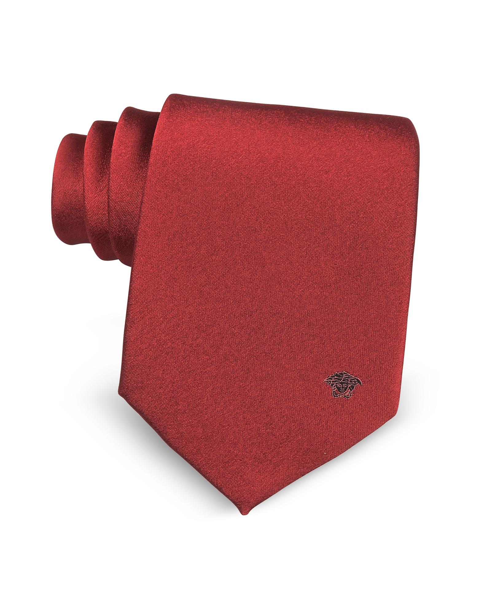 Фото Однотонный Галстук из Чистого Шелка с Логотипом Медузой. Купить с доставкой