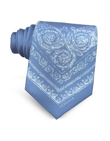 Versace - Light Blue Ornamental Baroque Printed Silk Tie