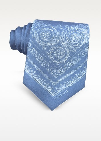 Light Blue Ornamental Baroque Printed Silk Tie - Versace