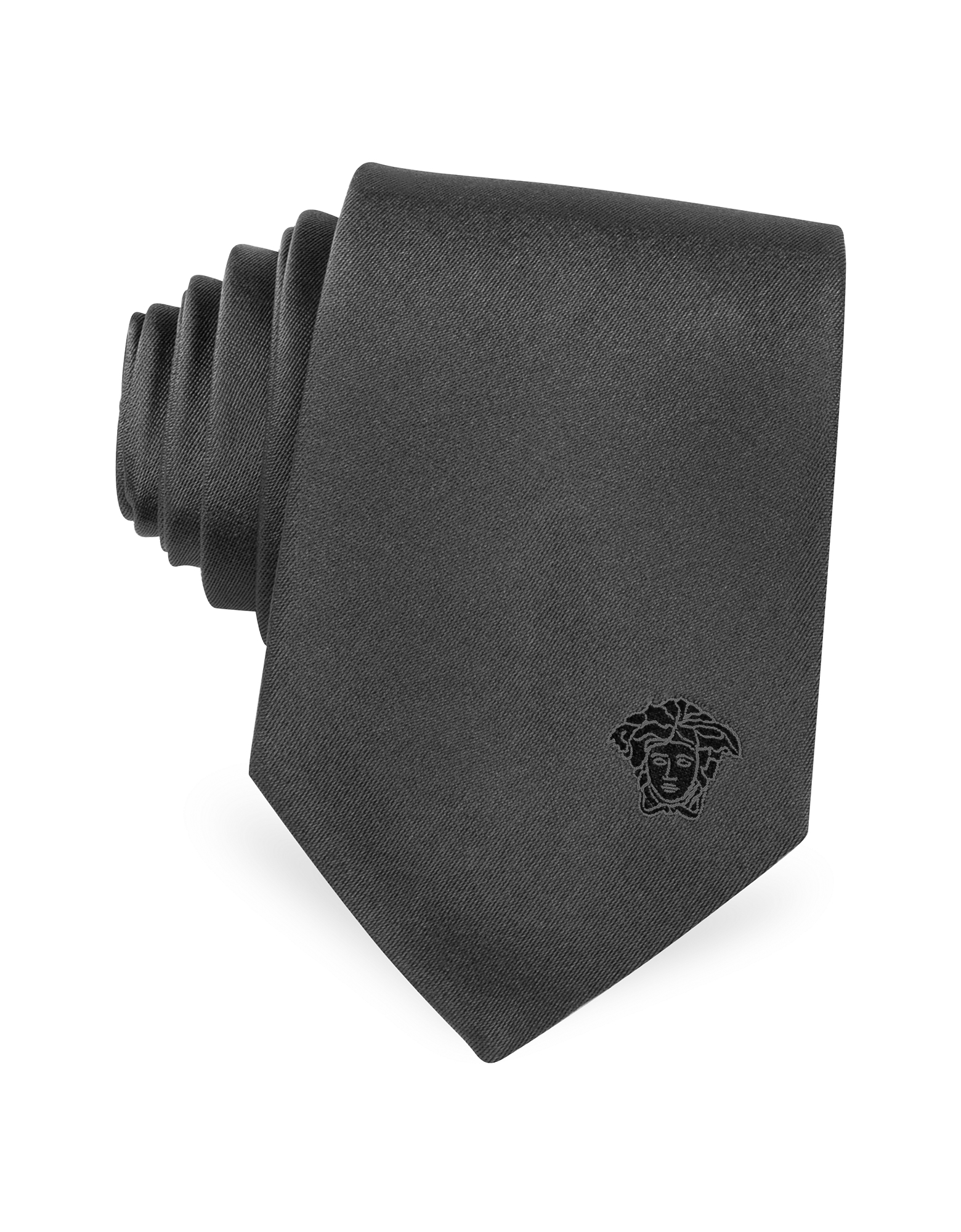 Versace Designer Narrow Ties, Solid Silk Medusa Narrow Tie