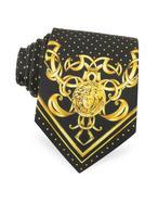 Versace Cravatta in Seta a Pois con Logo Medusa