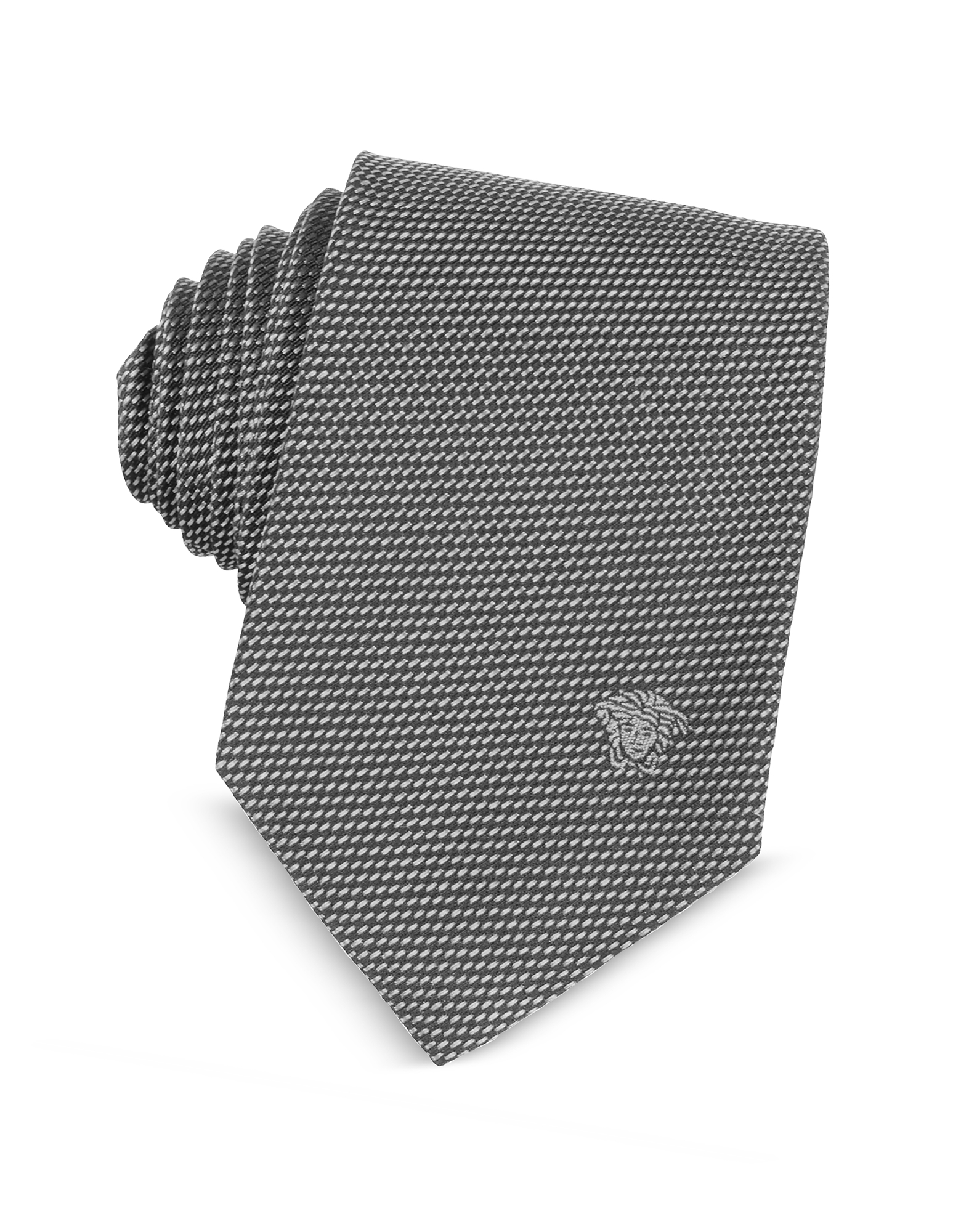 Versace Ties, Woven Silk Narrow Tie w/Medusa