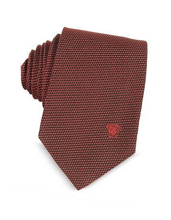 Woven Silk Narrow Tie w/Medusa