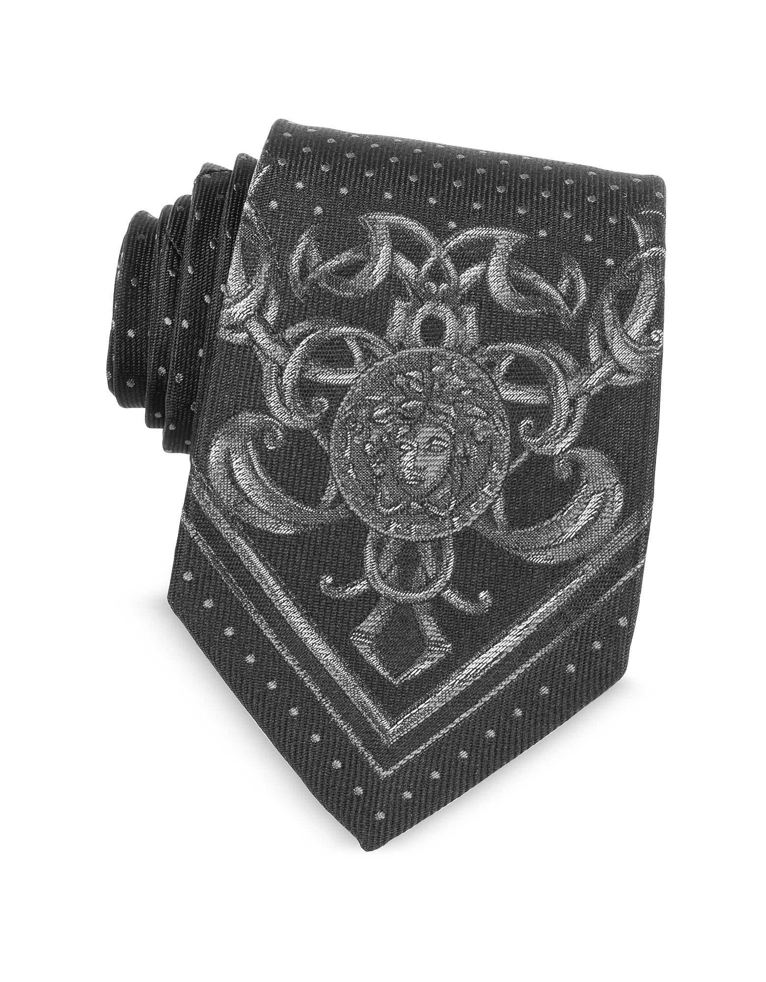 Versace Ties, Micro Polka Dots Narrow Ties w/Medusa Print