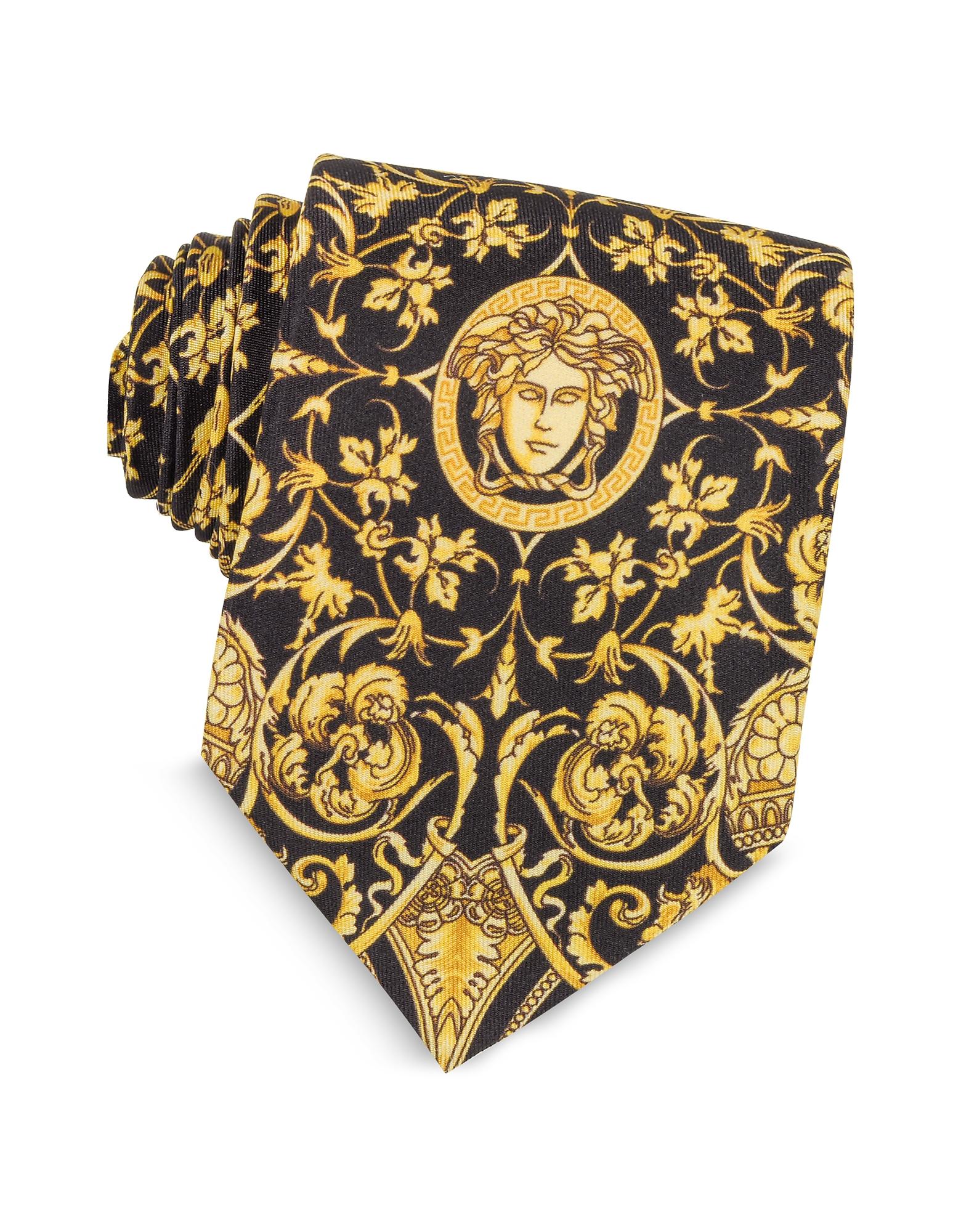 Versace Ties, Black and Gold Medusa Print Silk Tie