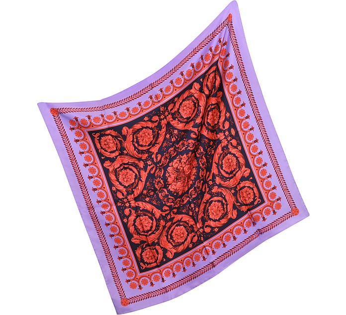 Red and Purple Floral Print Silk Square Scarf - Versace