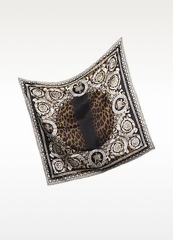Leopard Print Silk Square Scarf - Versace