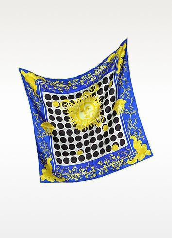 Blue and Gold Silk Square Scarf - Versace