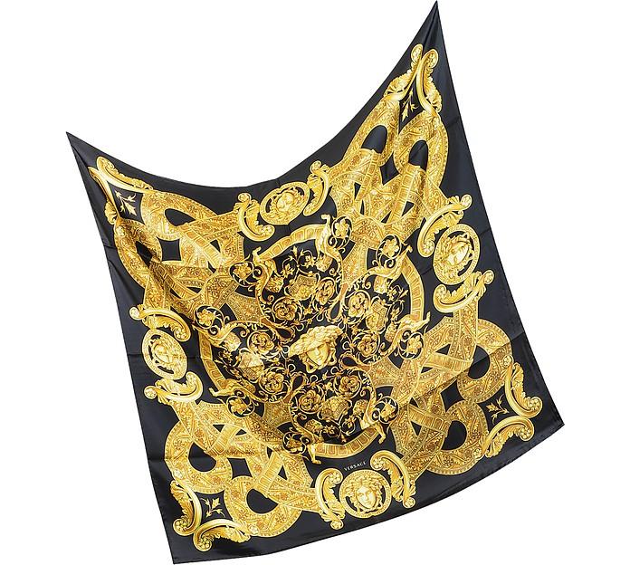 Gold Ornamental Print Silk Square Scarf - Versace