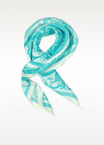 Ornamental Print Twill Silk Square Scarf - Versace
