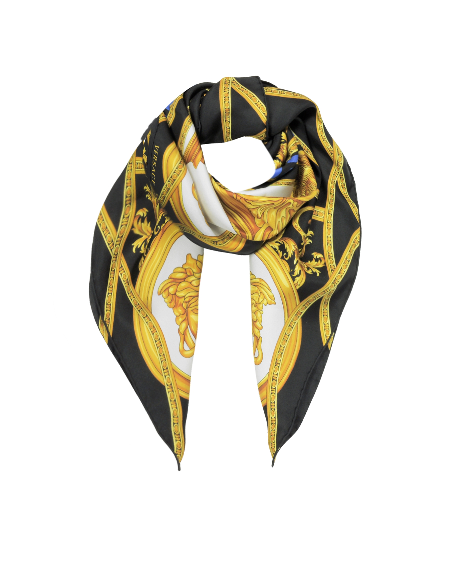 La Coupe Des Dieux Black and Gold Twill Silk Square Scarf