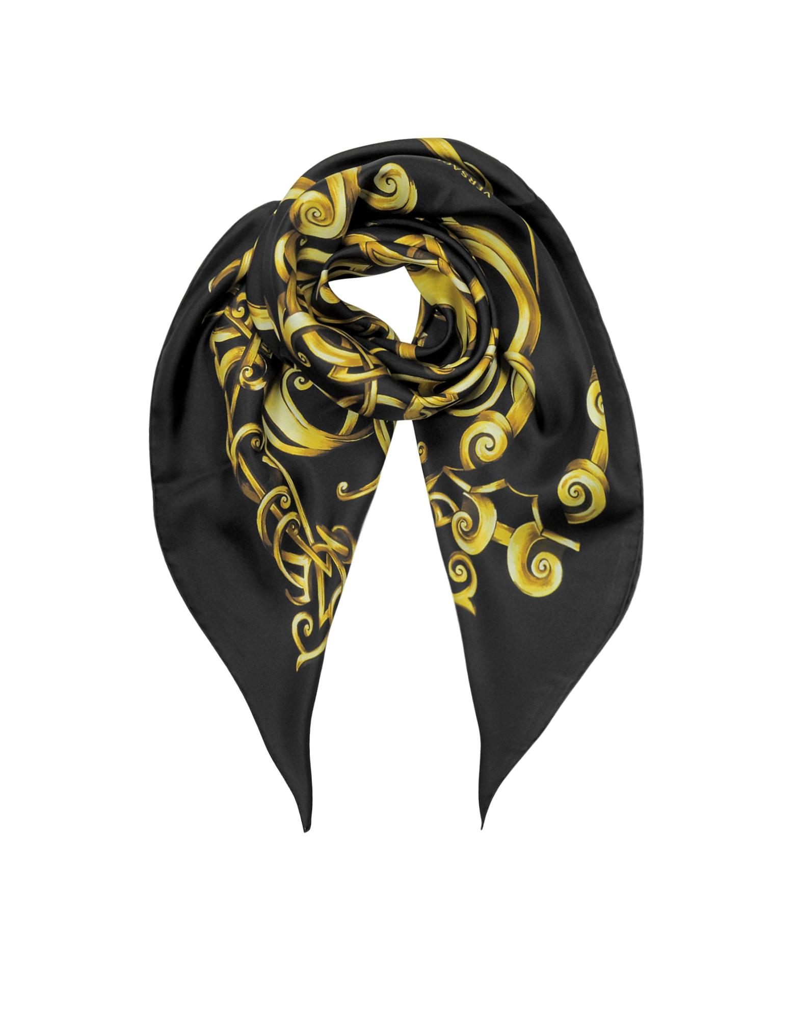Черная Косынка из Твилового Шелка с Золотистым Принтом Барокко