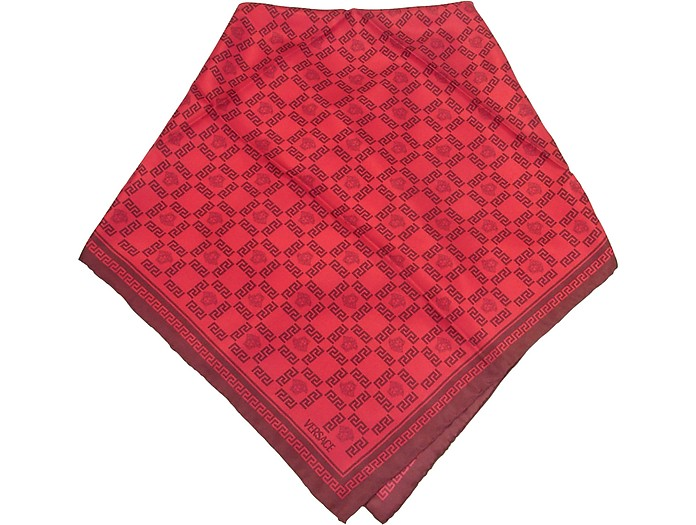 Red Medusa and Greca Print Twill Silk Square Scarf - Versace