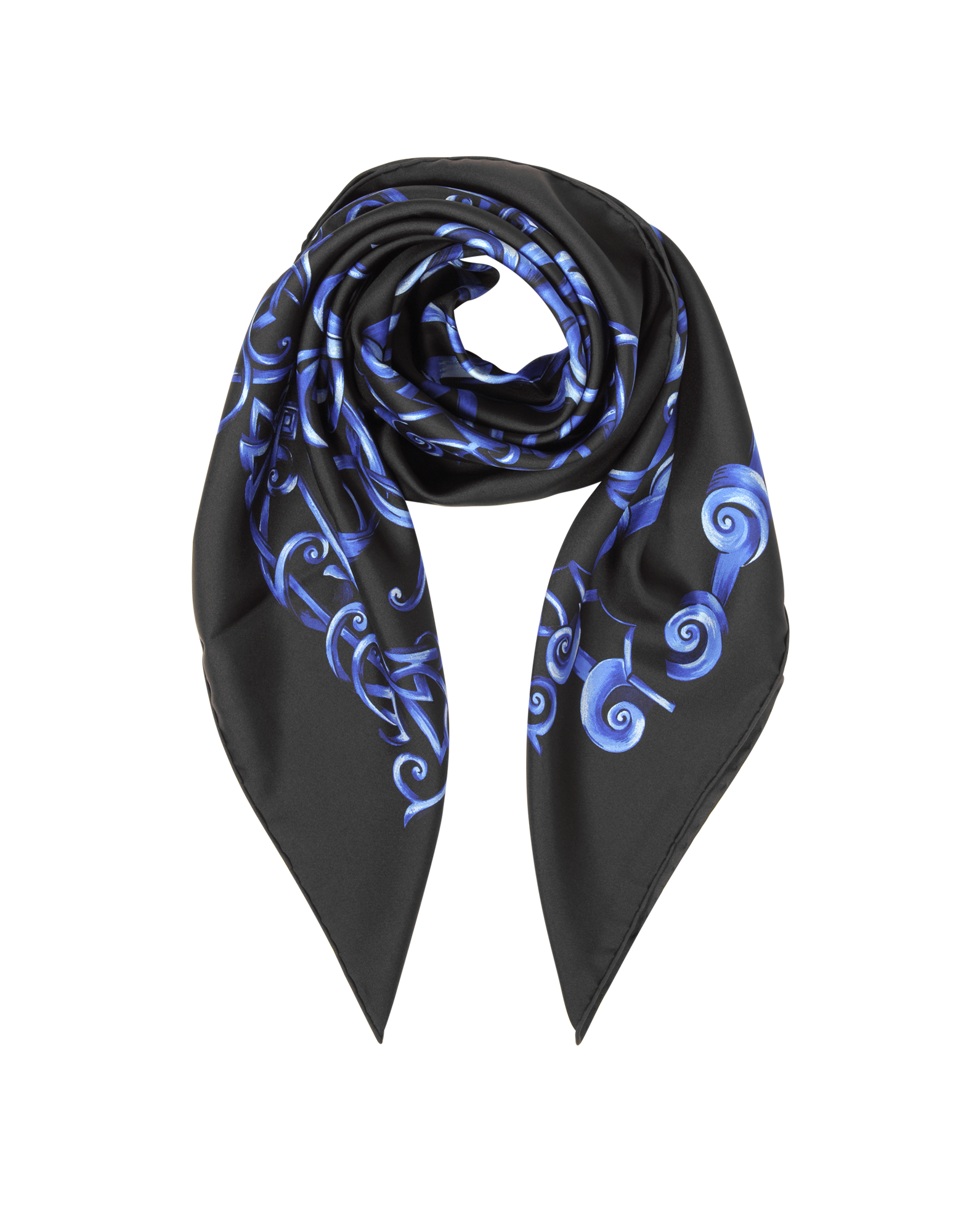 Image of Black and Bluette Heritage Barocco Print Silk Square Scarf