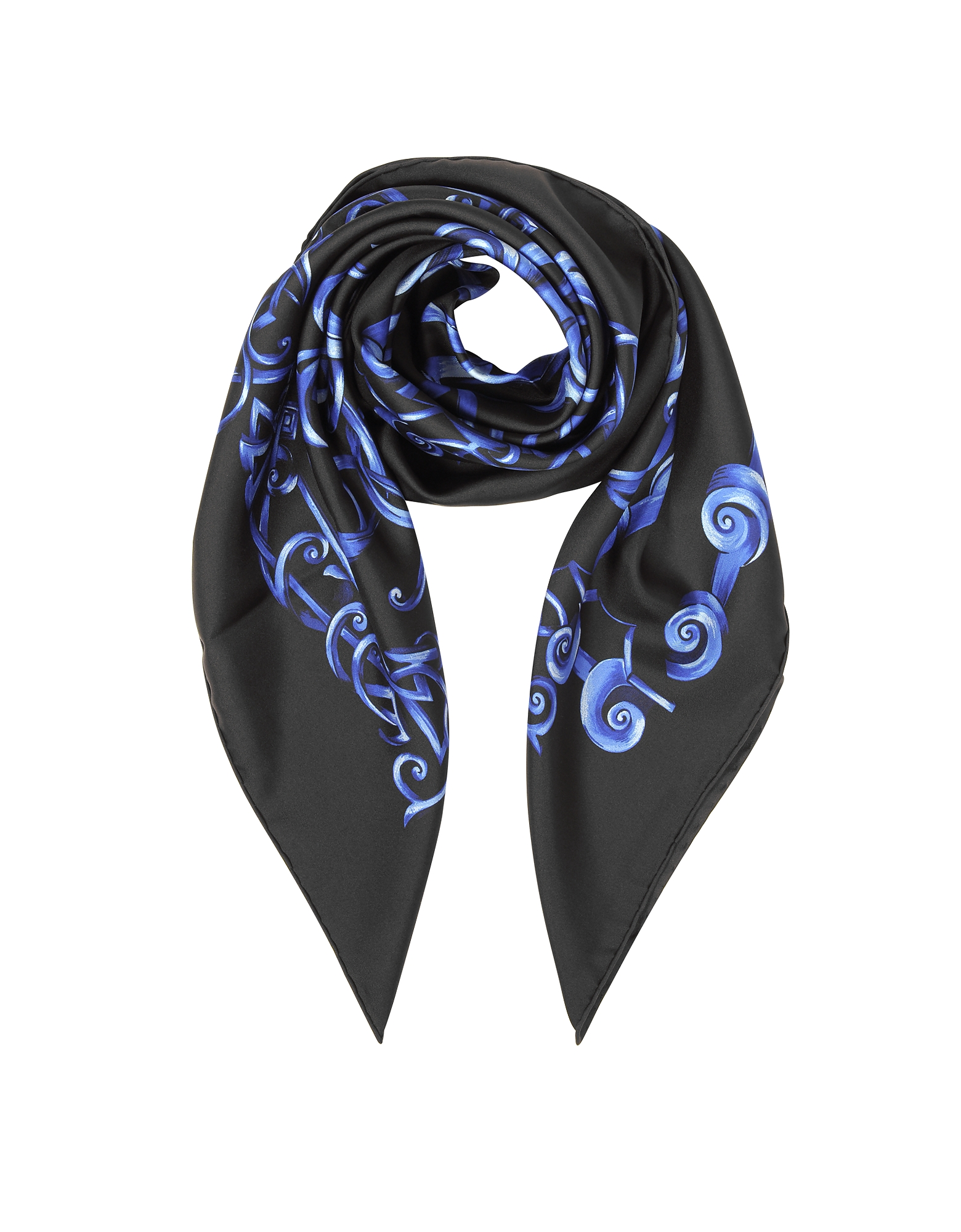 Versace Square Scarves, Black and Bluette Heritage Barocco Print Silk Square Scarf