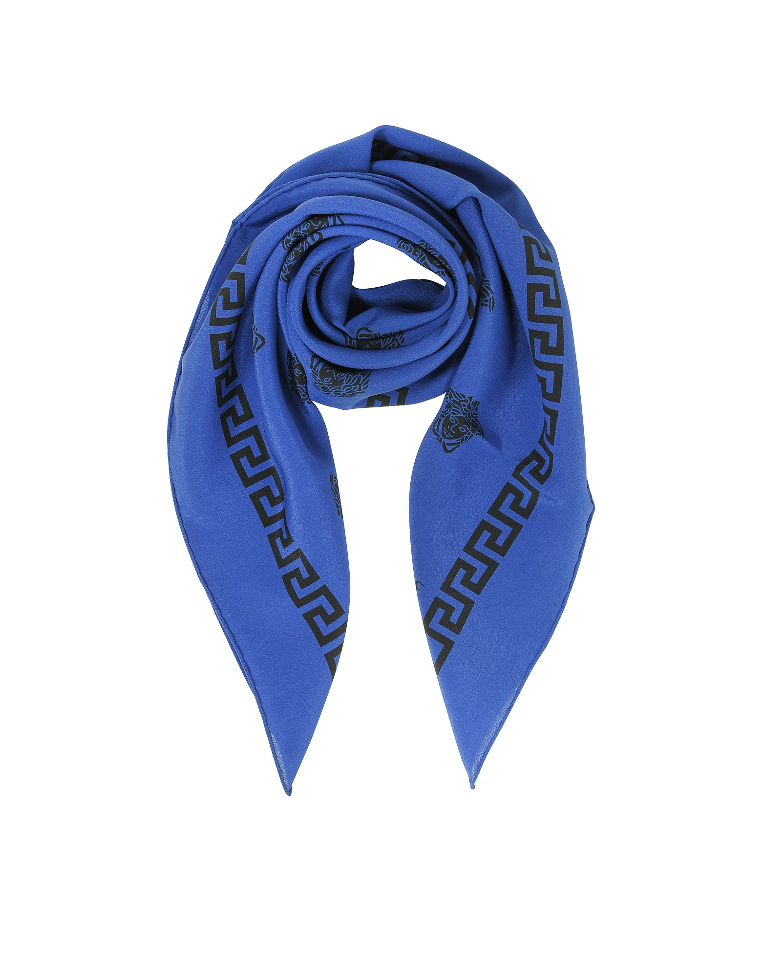 Versace Square Scarves, Bluette and Black Greek Medusa Print Silk Square Scarf