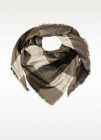 Brown Fringed Logo Wrap - Versace