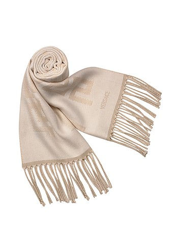 Versace Greca Signature Striped Wool Fringed Long Scarf