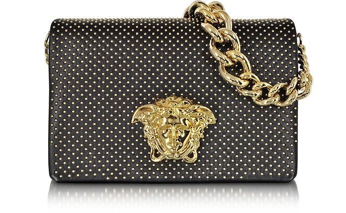Palazzo Black Leather Shoulder Bag w/Golden Studs - Versace