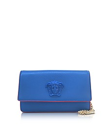 Palazzo Staten Blue Leather Evening Clutch - Versace
