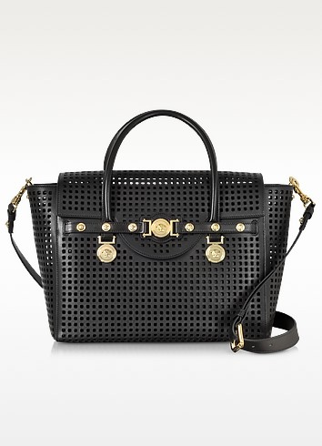 Black Perforated Leather Signature Handbag - Versace