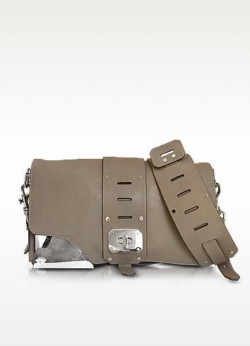 Stardust Sail Grey Leather Shoulder Bag - Versace