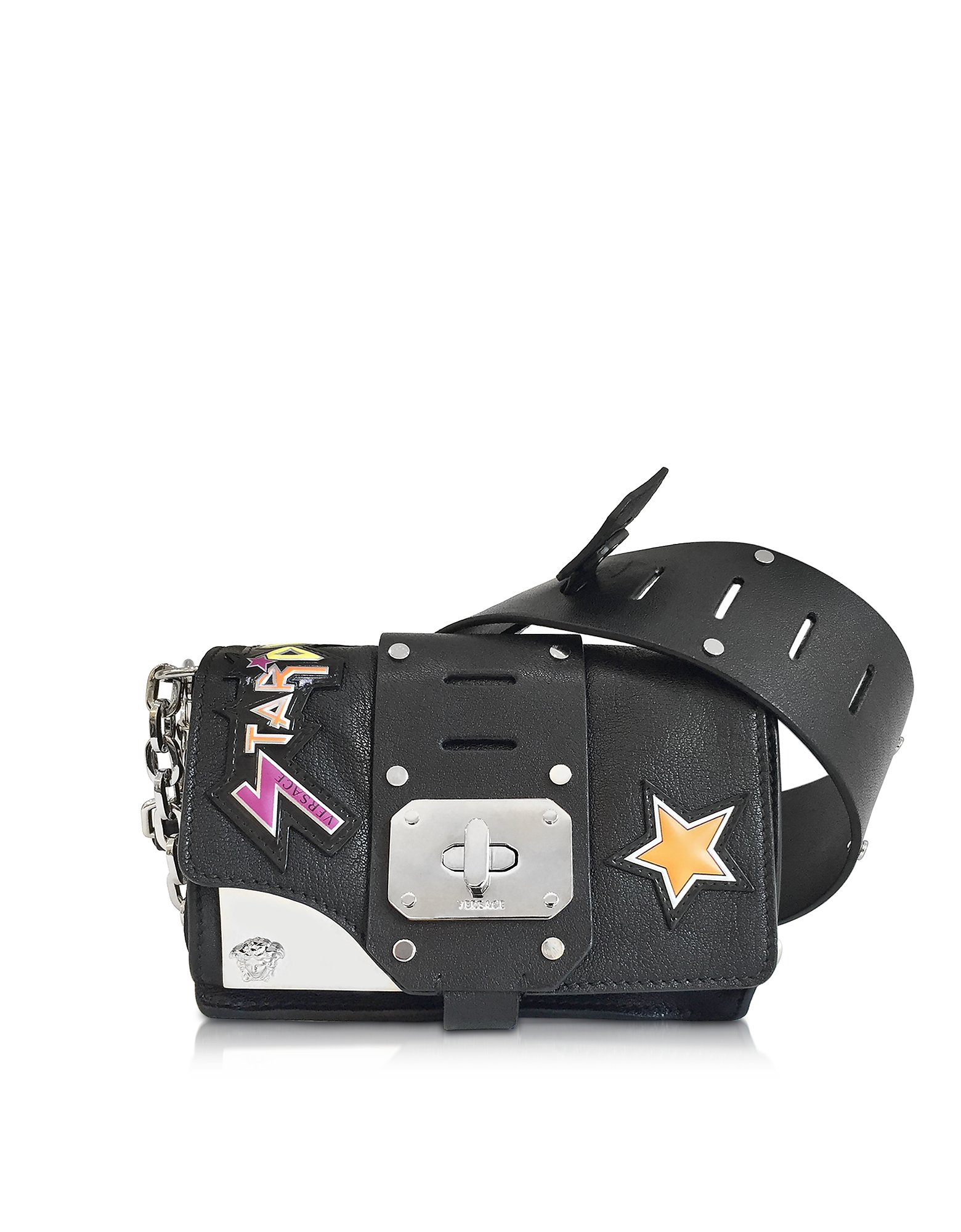 Versace Stardust - Маленькая Черная Кожаная Сумка на Плечо с Нашивками