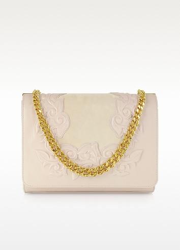 Powder Leather and Suede Shoulder Bag - Versace