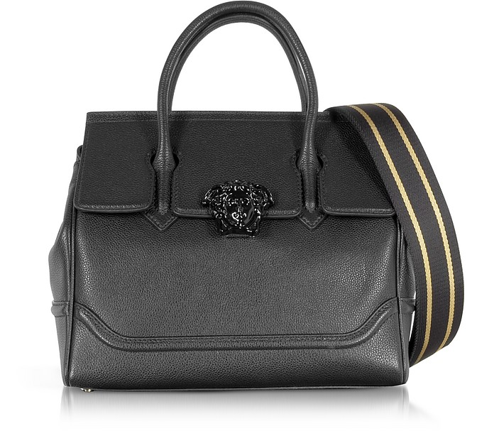 Palazzo Empire Grained Leather Satchel Bag w/Black Medusa