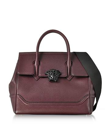 Palazzo Empire Grained Leather Satchel Bag w/Black Medusa