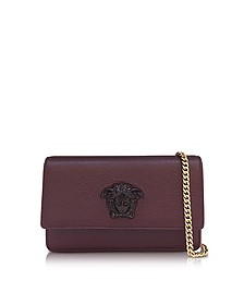 Palazzo Burgundy Grained Leather Small Pouch - Versace