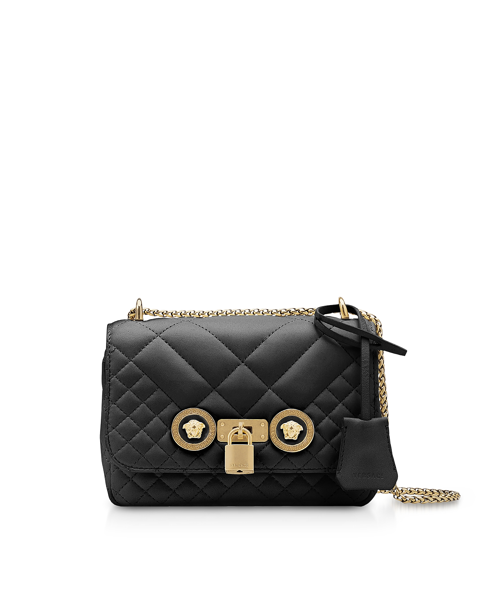 Versace Handbags, Small Quilted Leather Icon Small Shoulder Bag