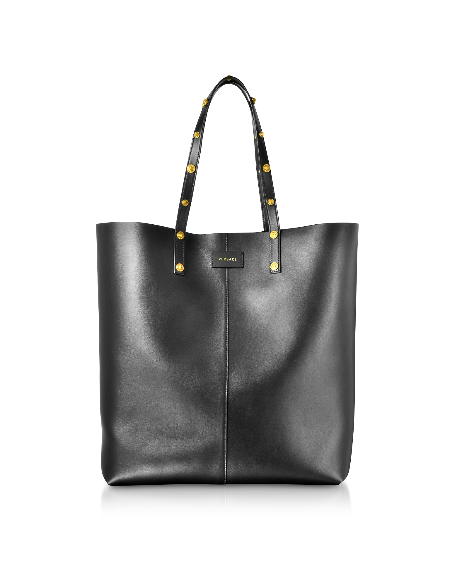 Versace Handbags, Black Leather Studded Tote Bag