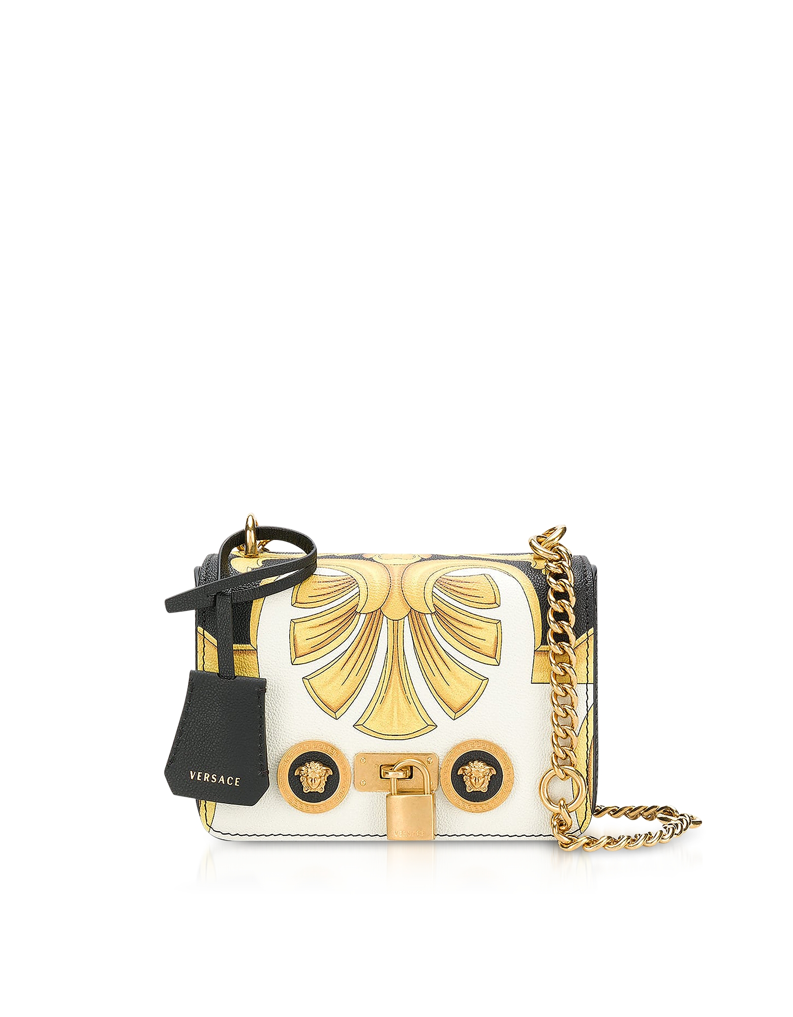 Versace Handbags, Barocco Printed Leather Shoulder Bag