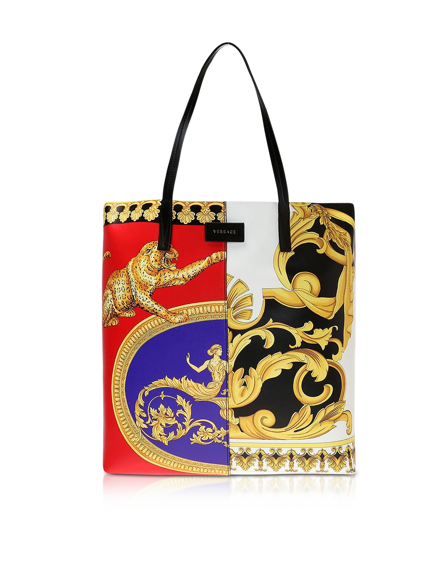 Versace Pillow Talk Printed Leather Studded Tote Bag In Multicolor