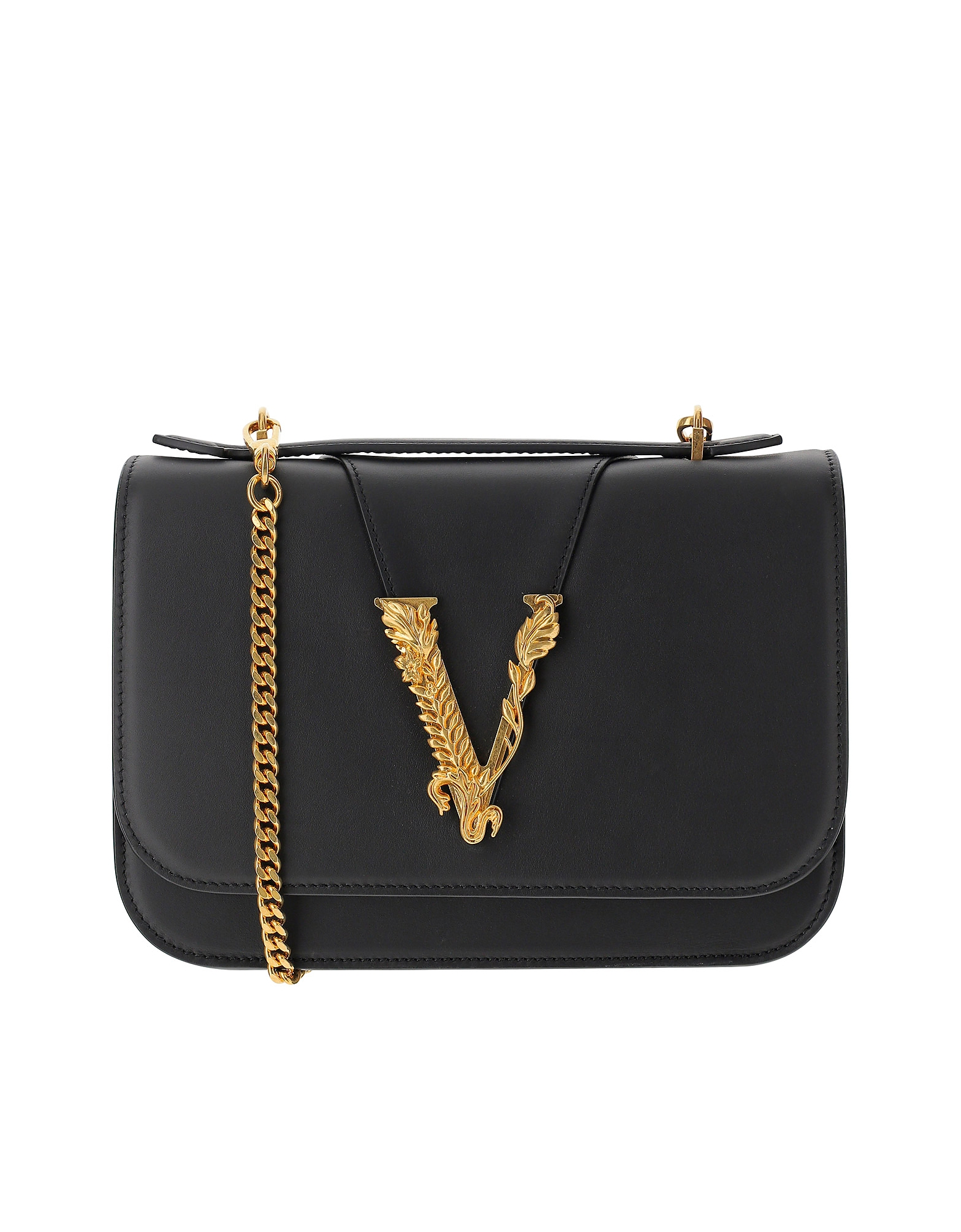 Versace Designer Handbags, Black Leather V Barocco Closure Shoulder Bag