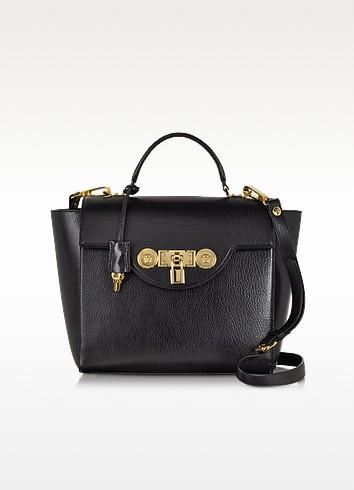Black Leather Signature Lock Handbag - Versace